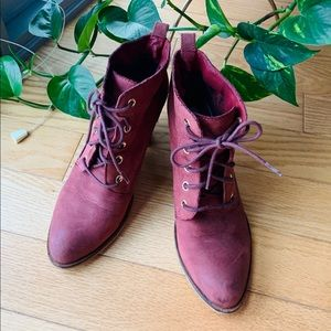 Steve Madden Lace Up Suede Booties (Wine Red)
